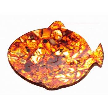 Тарелка рыбка янтарная