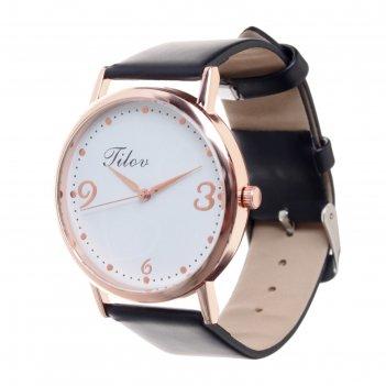 Часы наручные, d=4см, розовое золото, ремешок черный 20мм