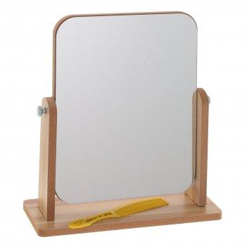 Зеркало настольное с расческой, l21,5 w9 h25 см