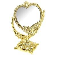 Зеркало настольное романтика, двухстороннее, с увеличением, цвет золотисты