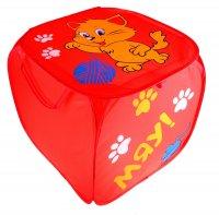 Корзина для игрушек котята с ручками и крышкой, цвет красный