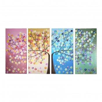 Модульная картина дерево (4-38х80) 158х80см