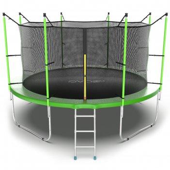 Батут с внутренней сеткой и лестницей evo jump internal, диаметр 12ft (зел