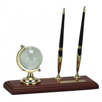 Настольный набор: глобус из стекла, 2 ручки шариковые, на деревянной подст