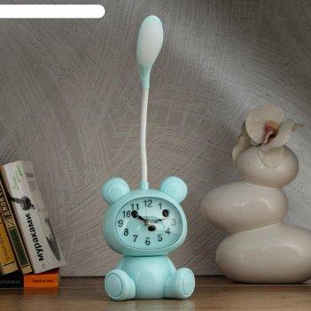 Часы-светильник мишка  led, с будильником, 3 aa. usb. 5 вт, дискр. ход, го