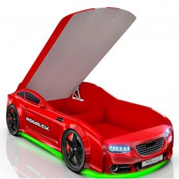 Кровать romack real-м a7, 1900 x 800 мм, подсветка дна и фар, цвет красный