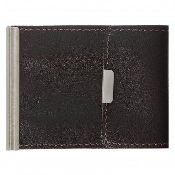 Зажим для денег z-8  10*1*8, карман д/мелочи и кредитных карт, ладья корич