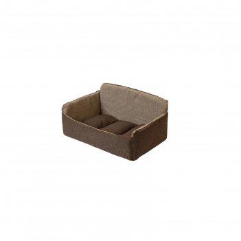 Лежанка-диван самсон, 46 х 33 х 22 см, рогожка/синтепух, коричневая