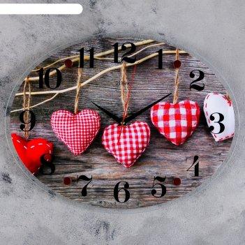 Часы настенные, серия: интерьер, сердца, 35х46 см микс