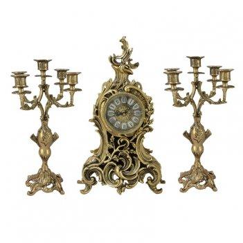 Часы антикварные каминные с маятником с канделябрами сильвия