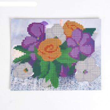 Алмазная мозаика для детей незабудки 20*25 см