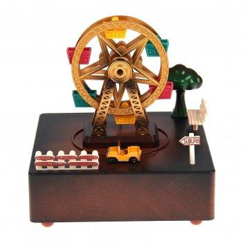 Шкатулка музыкальная пластик карусель вращается карусель и машинка 15х15х1