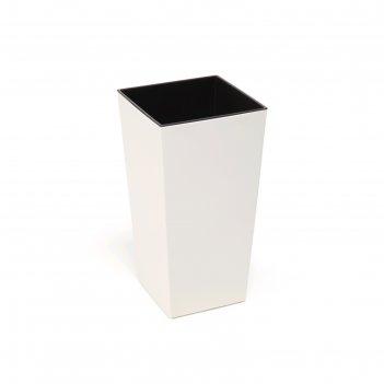 Пластиковый горшок с вкладышем «финезия», 25х25х46,5 см, цвет крем