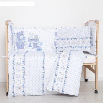 Комплект в кроватку (6 предметов) мишки и зайки, цвет голубой, бязь, хл100