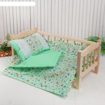 Кукольное постельноецветочки на зеленом простынь,одеяло,46*36,подушка 27*1