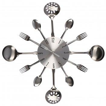 Часы настенные, серия: кухня, вилки, ложки, поварешки, хром, d=42 см