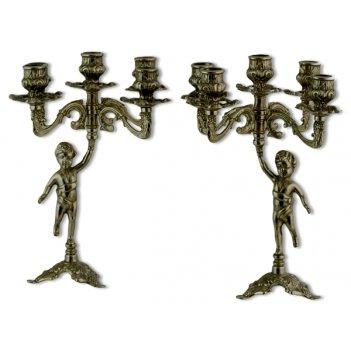 Пара подсвечников на 5 свечей латунь