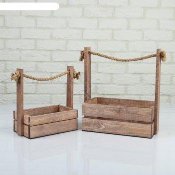 Набор кашпо деревянных 2 в 1 (25.5x15x30; 20x12x23 см) аром, ручка канат,