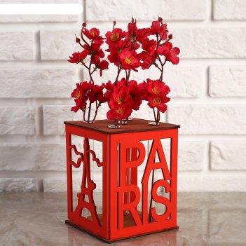 Ящик-кашпо подарочный с 5 колбами париж, морёный-красный