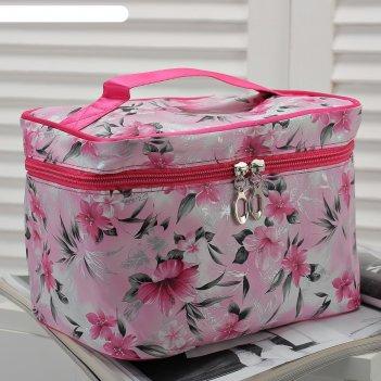 Косметичка сундук цветы, 21*15*15, отдел на молнии, розовый