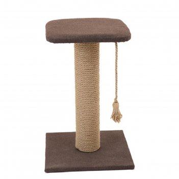 Когтеточка-столбик с полкой кантри, 37 х 37 х 49 см, рогожка, джут, микс ц