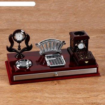 Набор настольный 6в1 (термометр в резн.кант,подставка п/визит,кальк-ор,бум