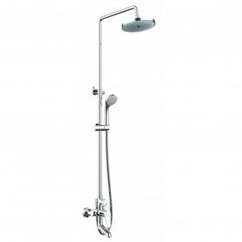 Душевая колонна bravat eco со смесителем для ванны, поворотный излив