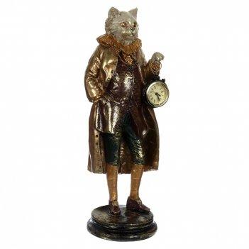Фигурка декоративная кот с часами, l14,5 w14,5 h41,5 см