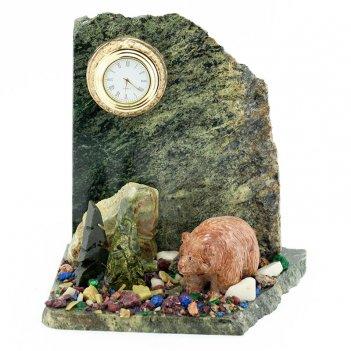 Часы мишка камень змеевик
