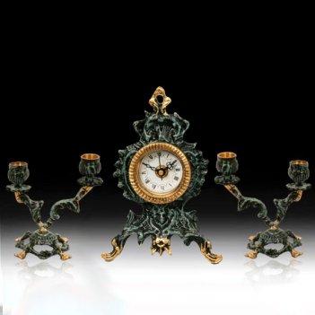 Часы настольные собор малые с канделябрами на 2 свечи, набор из 3 предм.