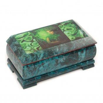 Шкатулка хозяйка медной горы с иллюстрацией под малахит 18х9х8 см