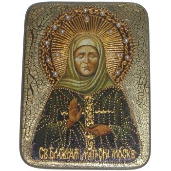 Подарочная икона блаженная старица матрона московская на мореном дубе