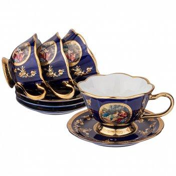 Чайный набор на 4 персоны 8 пр. lefard влюбленная пара кобальт 150 мл (кор