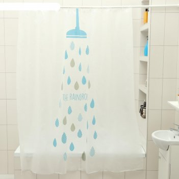 Штора для ванной 180x180 см капли, eva