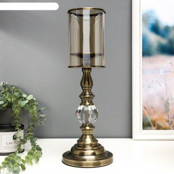 Подсвечник металл, стекло на 1 свечу герцогиня под латунь с хрусталиком 39