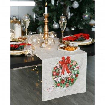 Дорожка на стол этель новогоднее настроение 40х147 см, 100% хл, саржа 190
