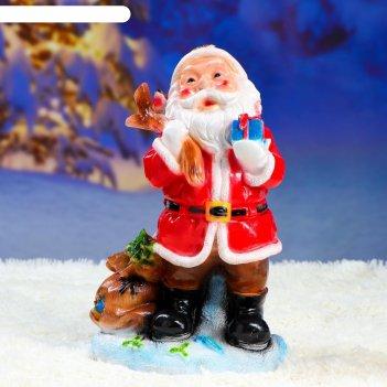 Фигурка дед мороз малый красный 21х34см