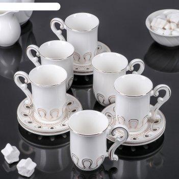 Сервиз кофейный фирая, 12 предметов: 6 чашек 100 мл, 6 блюдец 11 см