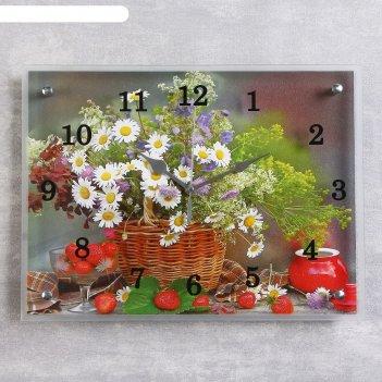 Часы настенные, серия: цветы, цветы и ягоды, 30х40 см