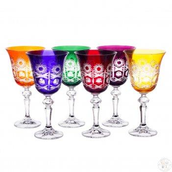 Набор бокалов для вина bohemia цветной хрусталь 220мл (6 шт)