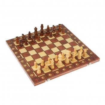 Шахматы шашки нарды 3в1, дерево, на магнитах, 40*4*20см