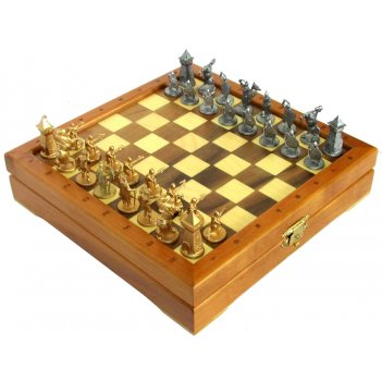 Шахматы мини с фигурами из олова чернеными