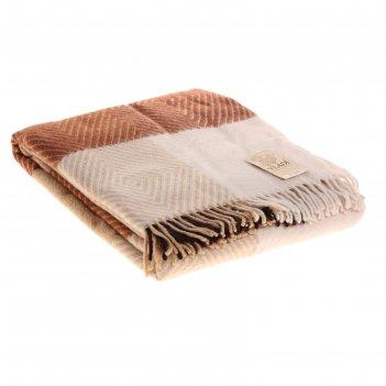 Плед шерстянной скиф 140х200 см, бел/беж/кор/тер, 100% новозеландская шерс