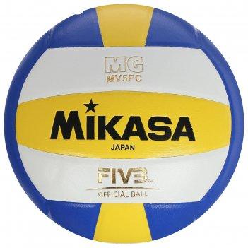 Мяч волейбольный mikasa mv5pc, р.5, бело-сине-желтый