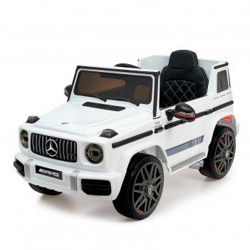 Электромобиль mercedes-benz g63 amg, окраска белый, eva колеса, кожаное си