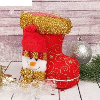 Подарочная упаковка сапожок красный со снеговиком и завязками