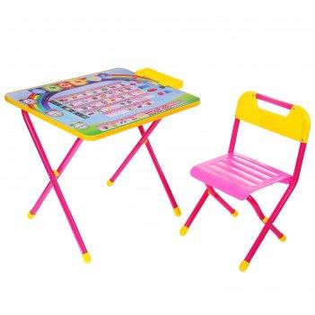 Набор детской мебели дэми 1. алфавит складной: стол, стул и пенал, цвет ро