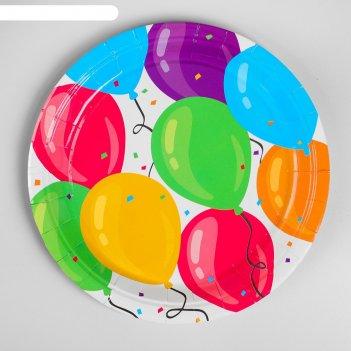 Тарелка бумажная «шары», набор 6 шт.