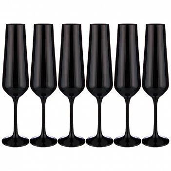 Набор бокалов для шампанского sandra sprayed black из 6 шт. 200 мл. высота