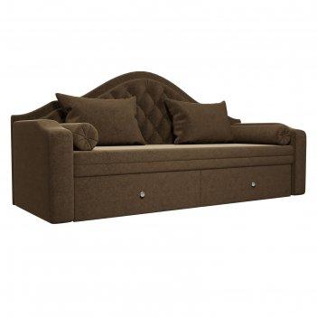 Прямой детский диван «сойер», механизм выкатной, микровельвет, цвет коричн